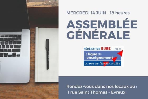 Assemblée Générale de la Ligue de l'enseignement de l'Eure : mercredi 16 mai 2018 – 18 h