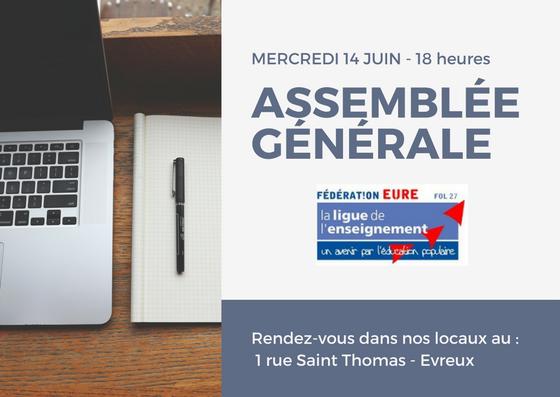 Assemblée Générale de la Ligue de l'enseignement de l'Eure : mercredi 14 juin 2017 – 18 h
