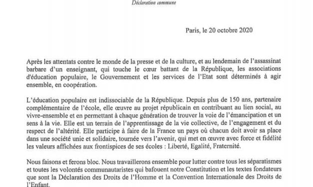 Signature d'une déclaration commune à l'initiative du Secrétariat d'État chargé de la jeunesse et de l'engagement