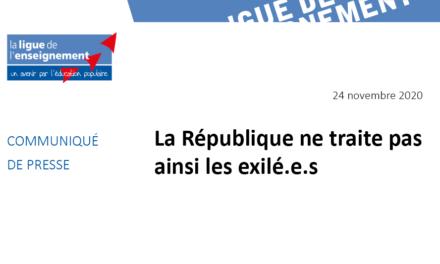 CP : La République ne traite pas ainsi les exilé.es
